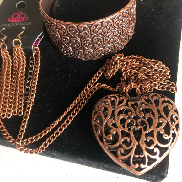 paparazzi Jewelry - Heart necklace and bracelet. Color: Copper